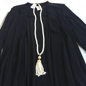 TALBOTS CRYSTAL/PEARL TASSEL NECKLACE